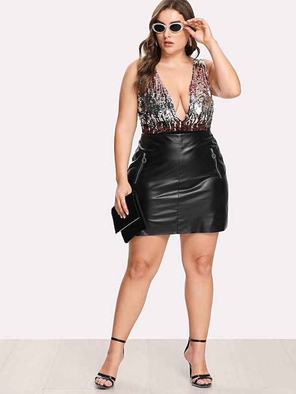 Plus Size Zip Detail Faux Leather Skirt – Plussizefix
