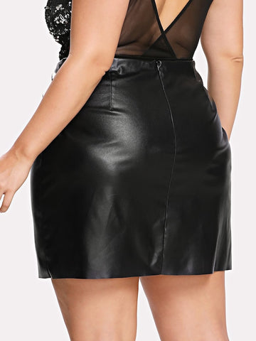 Plus Size Zip Detail Faux Leather Skirt