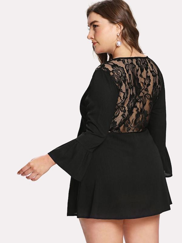 Plus Size Criss Cross Front Lace Contrast Dress