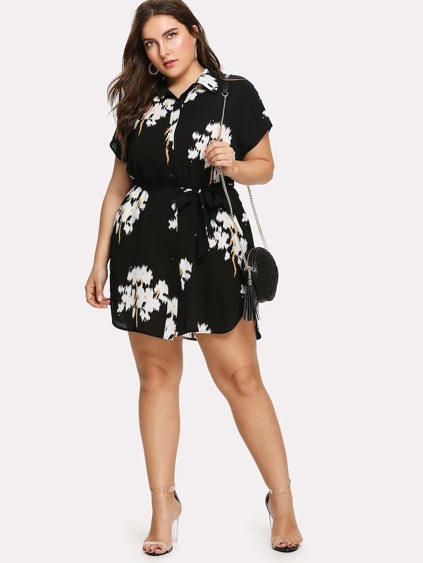 Plus Size Dolphin Hem Belted Shirt Dress