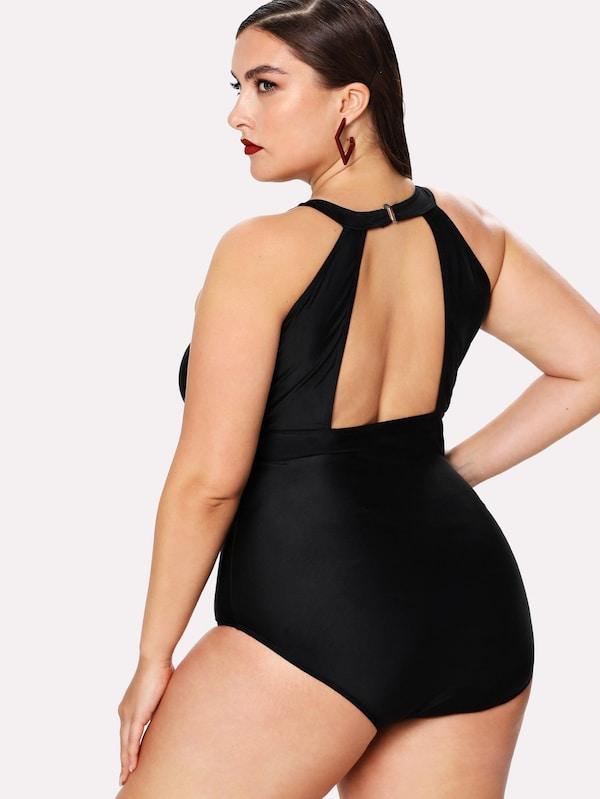Plus Size Mesh Panel High Neck One Piece Swimsuit