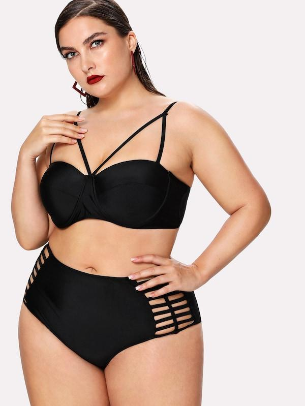 Plus Size Harness Top With Ladder Cutout Bikini Set