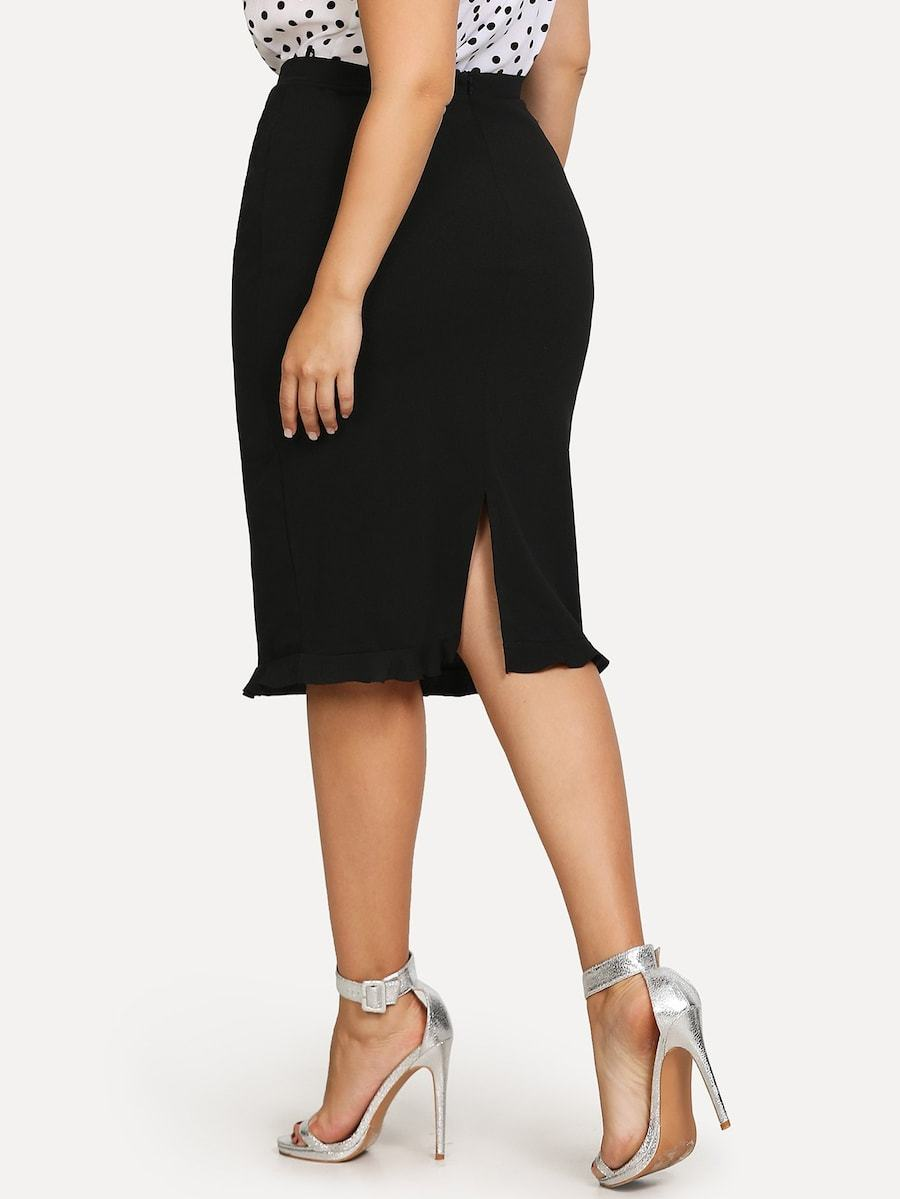 Plus Size Slit Ruffle Hem Bodycon Skirt