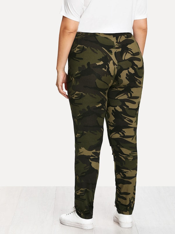 Plus Size Camouflage Ladder Ripped Legging
