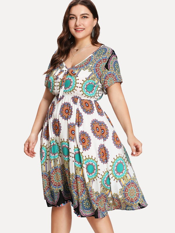 Plus Size Geo Print Knot Front Mandala Dress
