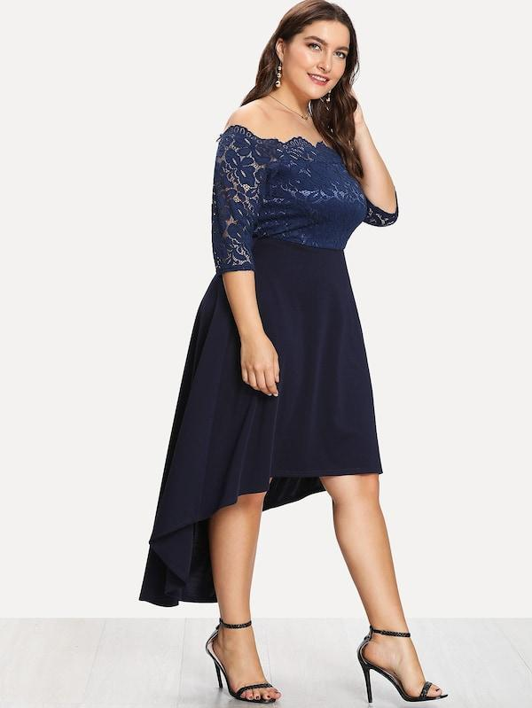 Plus Size Lace Overlay Dip Hem Bardot Dress