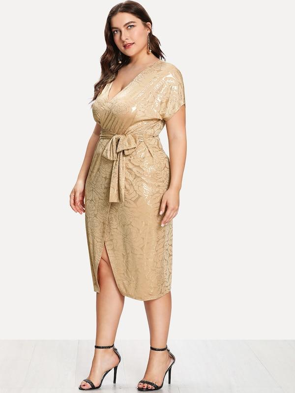 Plus Size Gold Print Wrap Split Front Belted Dress