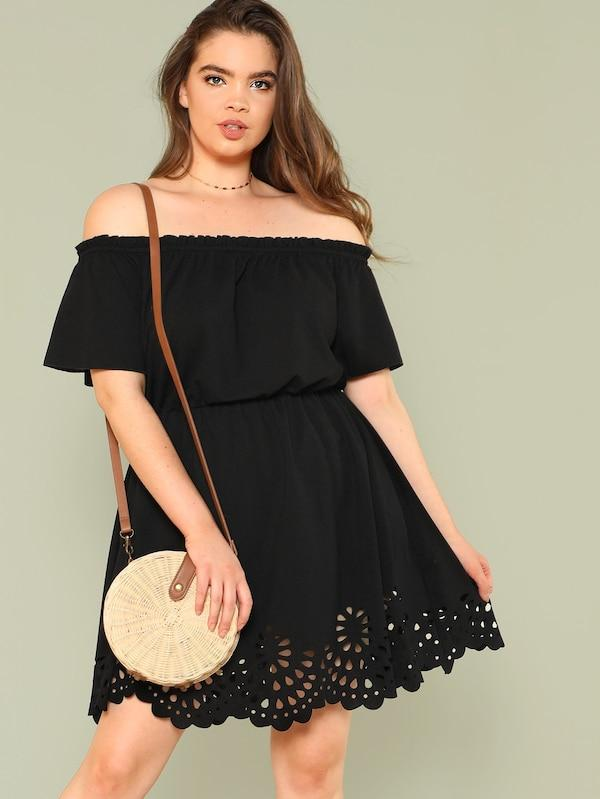 Plus Size Laser Cut Scalloped Bardot Dress