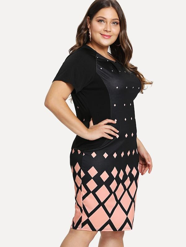 Plus Size Geo Print Raglan Sleeve Dress