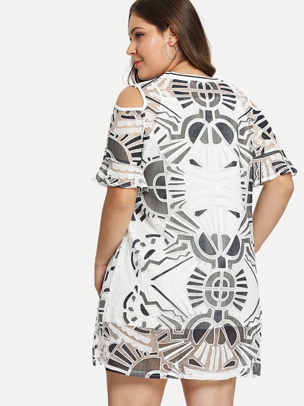 Plus Size Open Shoulder Geo Print Dress With Cami Top Insert