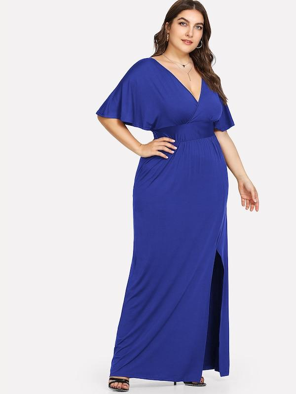 Plus Size Deep V Neck Split Hem Dress