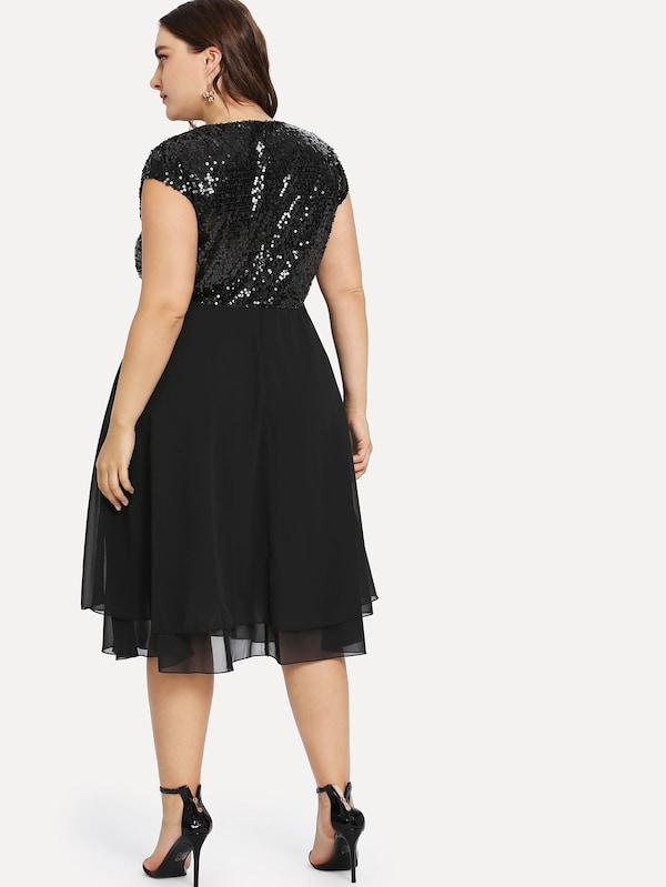 Plus Size Sequin Bodice Cap Sleeve Dress