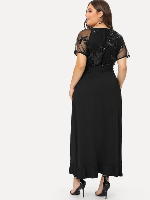 Plus Size Sequin Mesh Bodice Ruffle Wrap Dress