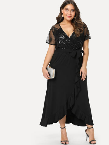 Plus Size Semi Sheer Bodice Tie Waist Dress