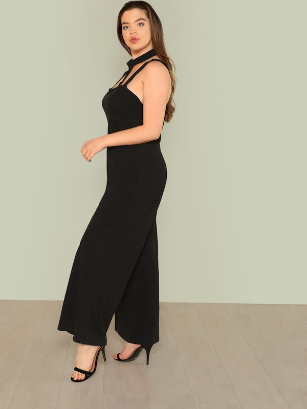 Plus Size Cut Out Neck Wide Leg Halter Jumpsuit