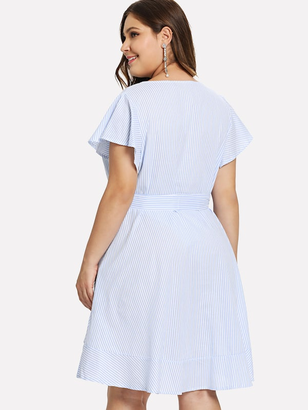 Plus Tie Waist Ruffle Hem Striped Dress