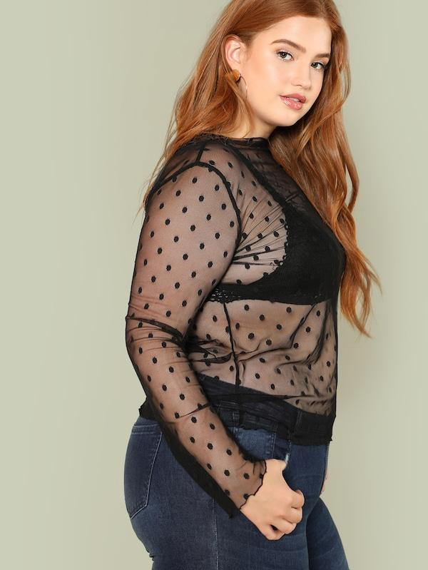 Plus Size Sheer Dot Mesh Blouse