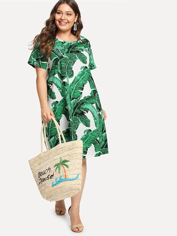 Plus Scoop Neck Tropic Print Dress