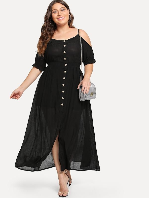 Plus Size Open Shoulder Single Breasted Dress