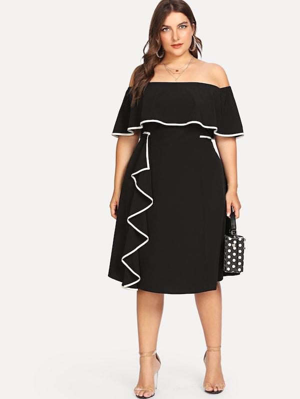 Plus Size Off Shoulder Tiered Ruffle Trim Dress