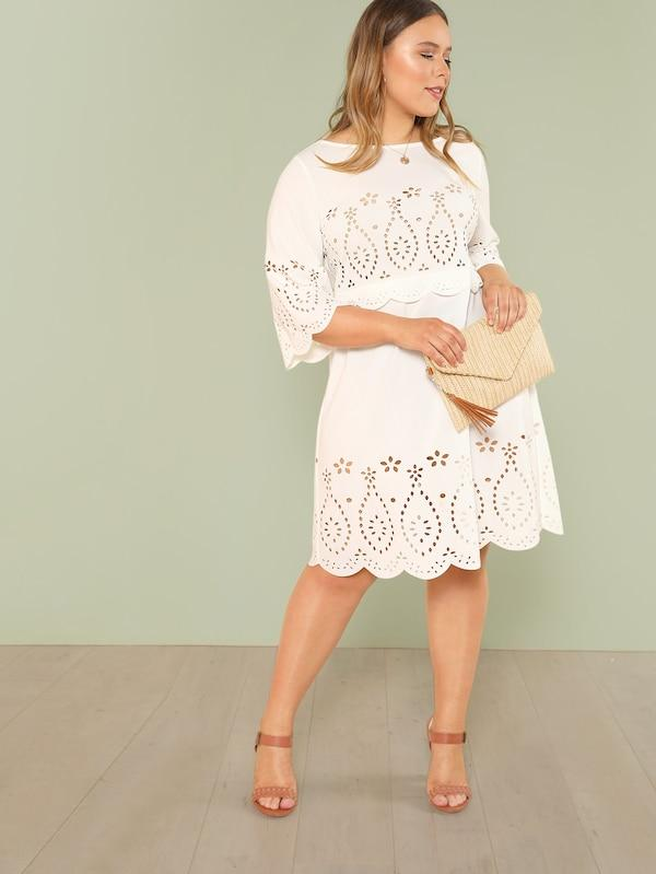 Plus Size Laser Cut Insert Scalloped Hem Dress