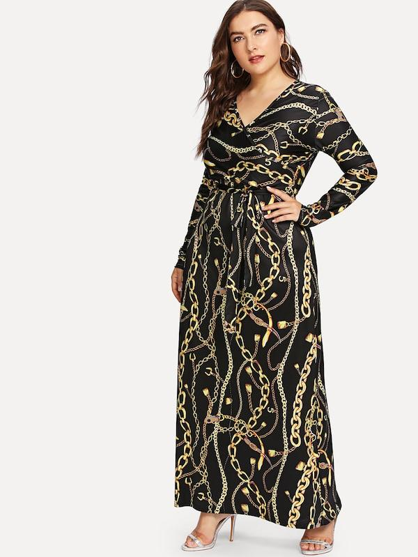 Plus Size Designer Print Maxi Dress