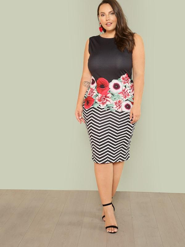 Plus Size Mixed Print Sleeveless Pencil Dress