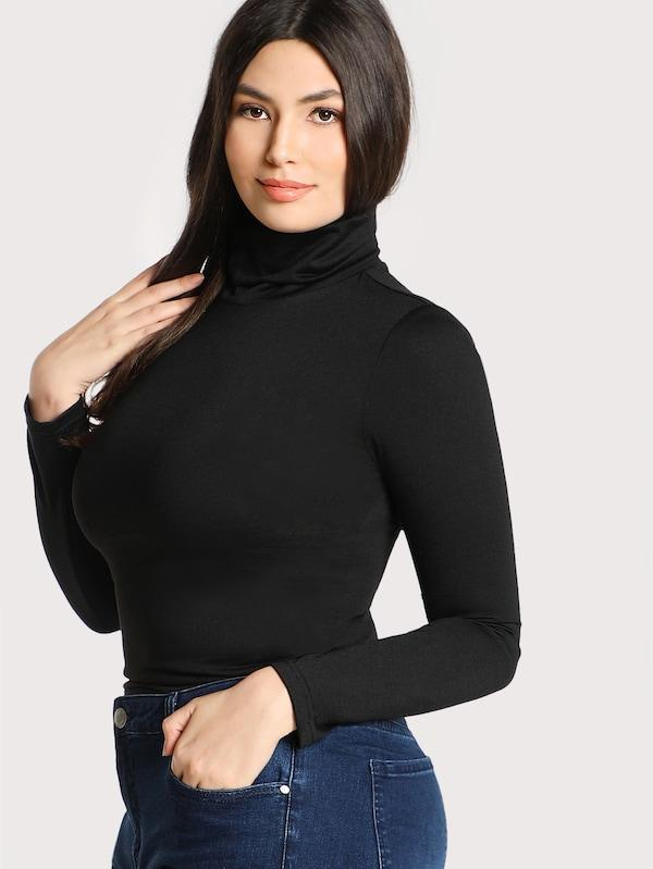 Plus Size High Neck Solid Skinny Tee