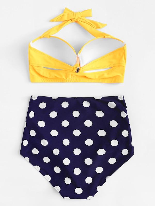 Plus Size Halter Top With Polka Dot Bikini Set