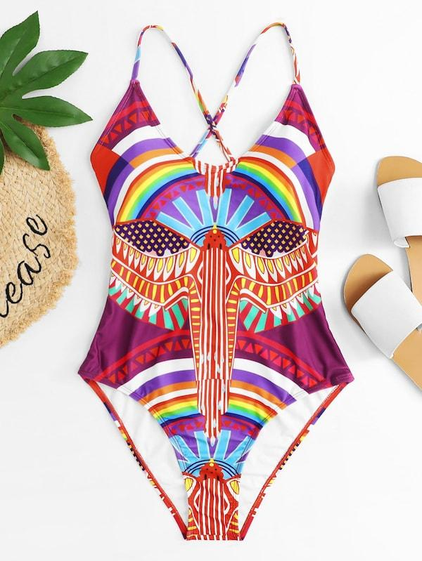 Plus Size Tribal Print Lace-Up Back One Piece Swimsuit