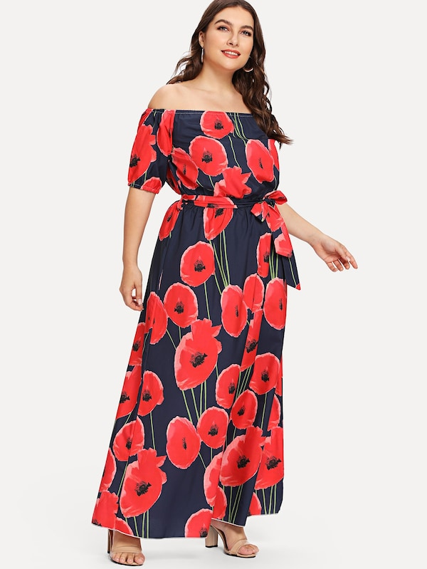 Plus Size Floral Print Belted Long Dress