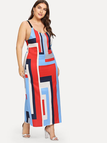Plus Size Geo Print Cami Dress