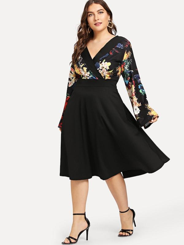 Plus Size Floral Wrap Bodice Fit & Flare Dress