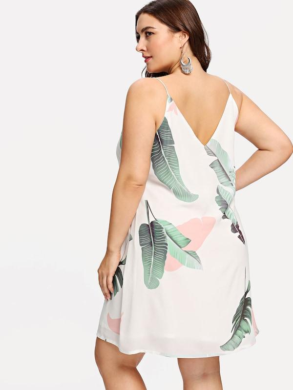 Plus Size Jungle Leaf Print Cami Dress
