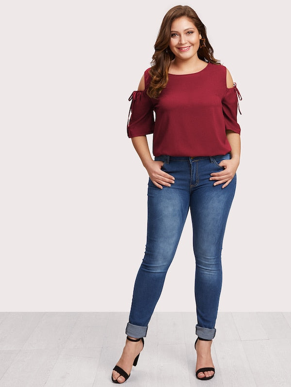 Plus Size Cold Shoulder Drawstring Sleeve Keyhole Back Top