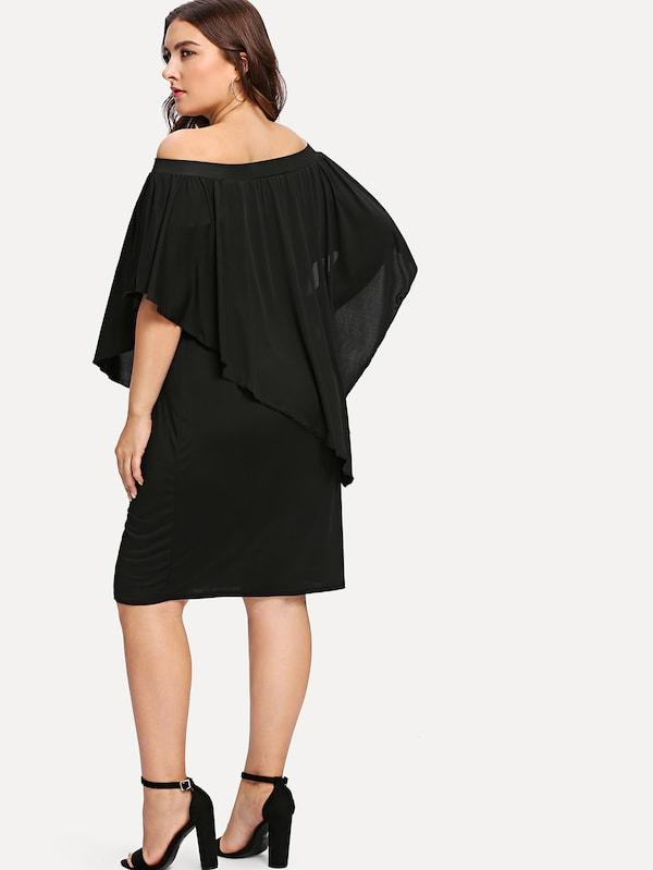Plus Size Off Shoulder Batwing Sleeve Dress