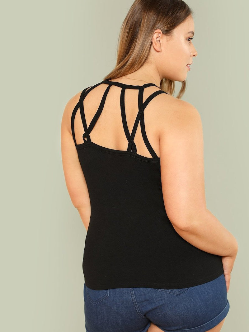 Plus Size Strappy Neck Solid Shell Top