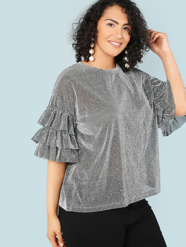 Plus Size Tiered Ruffle Sleeve Glitter Top