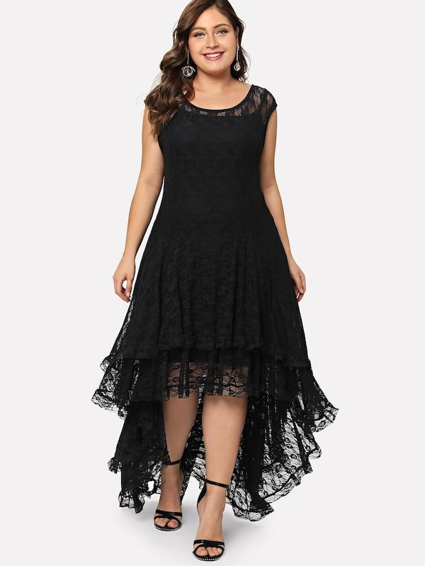 Plus Size Dip Hem Layered Floral Lace Dress