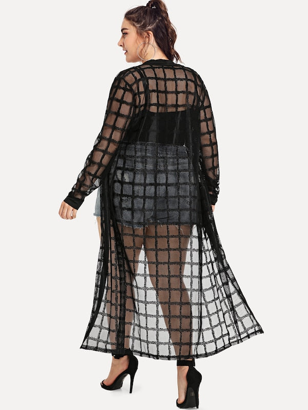 Plus See-Through Mesh Kimono