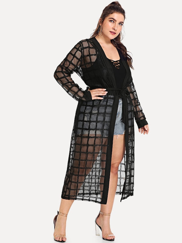 Plus Size See-Through Mesh Kimono