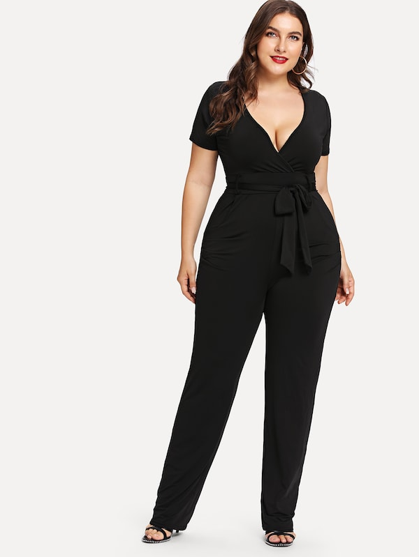 Plus Belted Deep V Neck Jumpsuit