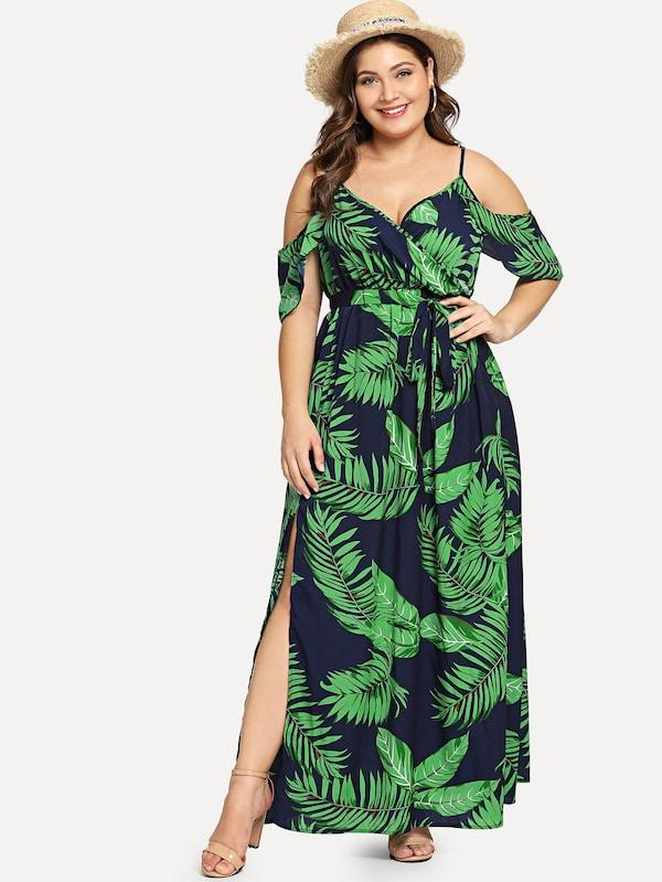 Plus Size Cold Shoulder Slit Hem Floral Dress