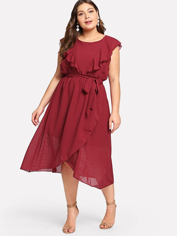 Plus Size Flounce Trim Asymmetrical Wrap Hem Belted Dress