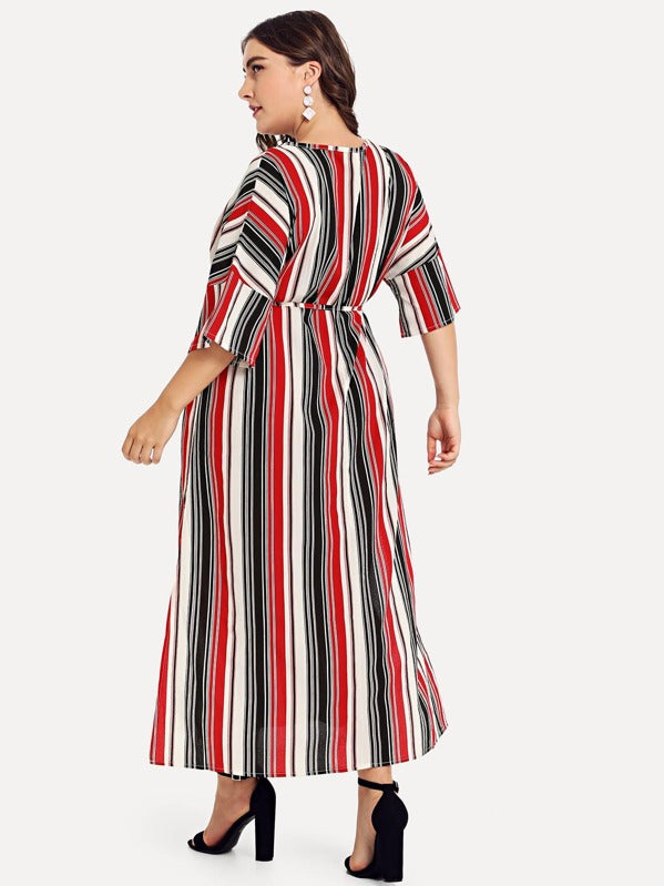 Plus Size Criss Cross Front Striped Dress