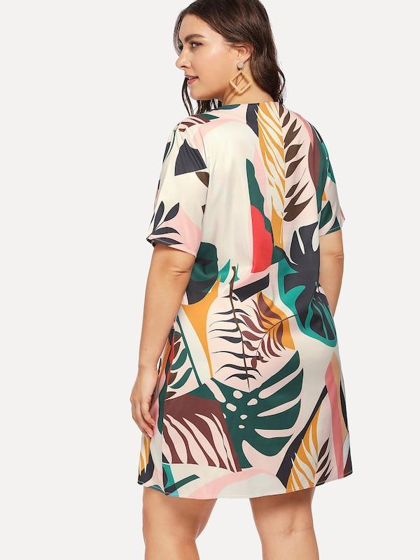 Plus Size Foliage Print Dress