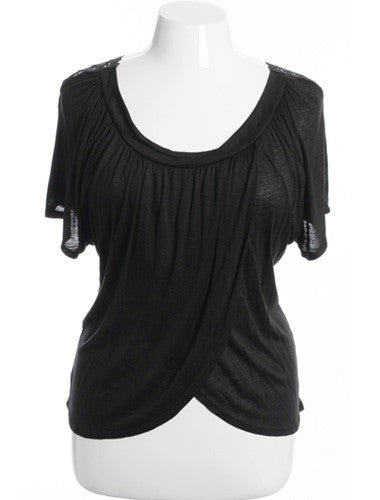 Plus Size See Through Knit Layered Black Blouse