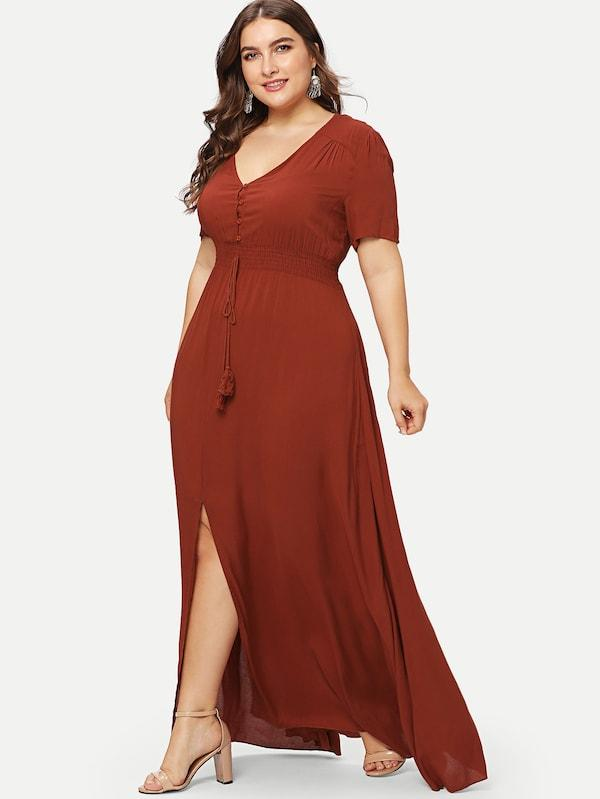 Plus Size Shirred Waist Slit Hem Fit And Flare Dress