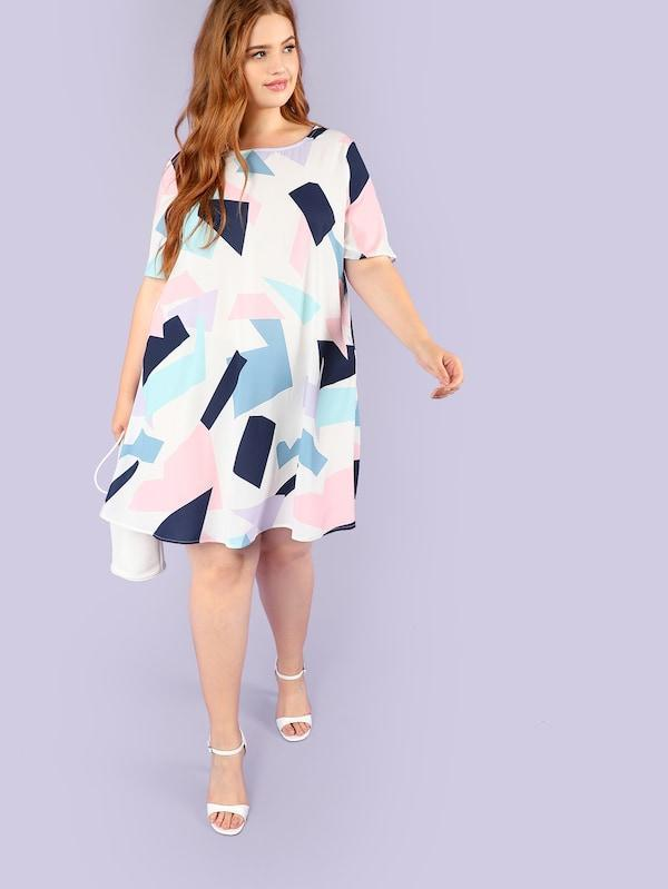 Plus Size Trendy Geo Print Dress