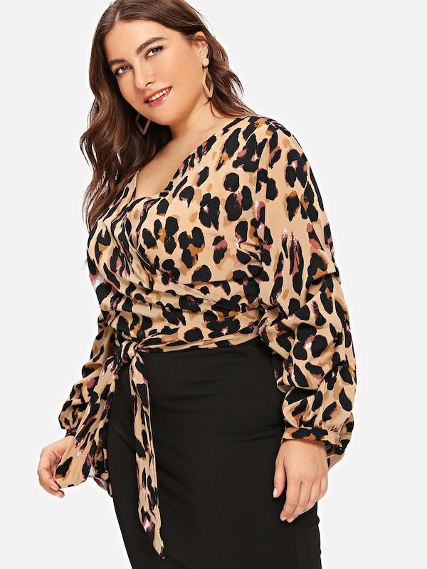 Plus Waist Knot Wrap Leopard Print Top